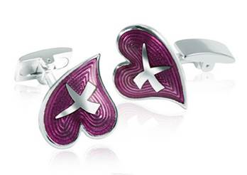 Heart and Kiss - Purple Enamel Cufflinks