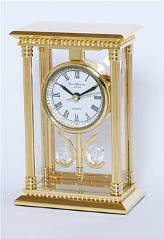 mantel clock - 24k gold plated solid brass - desk clock - suspended movement - SKC03