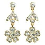 Queen Mary's Stomacher Drop Earrings - Gold Plated with Swarovski Elements
