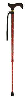 Patterned Adjustable Walking Stick - Adjustable In Height From 28.5 to 37.5inches - Red Dotty