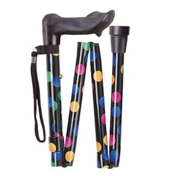 Anatomical Folding Walking Stick - 90DR -Spots, Right Handed