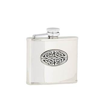 "Hip Flask - Stainless Steel with ""Captive Top"" in Celtic Pattern"