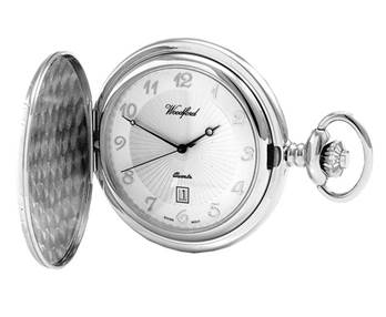 Woodford Chrome Plated Arabic Hunter Quartz Pocket Watch 1215