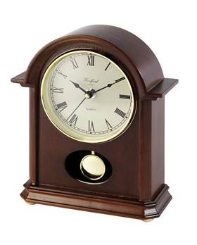 Mantel Clock - Norman Arch Style Design with Quartz Movement, Second Hand and Pendulum Movement