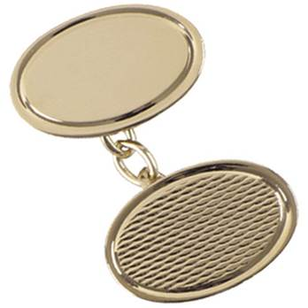 9ct Gold Patterned Double Oval Cufflinks