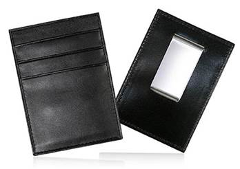 Credit Card Holder and Money Clip - Black Calf Leather