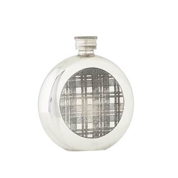 Pewter Hip Flask - 6oz Round featuring a Tartan Band - by Sgian Dubhs
