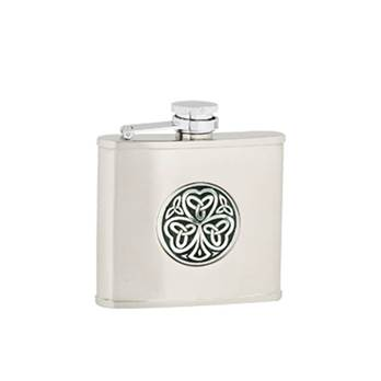 "Hip Flask - Stainless Steel with ""Captive Top"" in Shamrock Pattern"