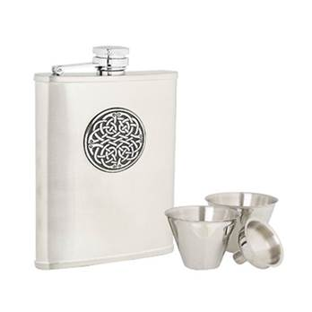 Stainless Steel 6oz Hip Flask with Celtic Pattern in presentation box with Cups and Funnel
