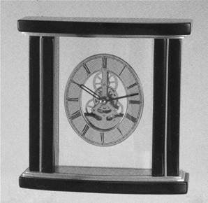 Bow Fronted Skeleton Mantel Clock by David Peterson - SKC 16