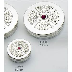 Round Pewter Trinket Box - 50mm & 50mm with Amethyst in Celtic Cross - EBP-14930 by Edwin Blyde.
