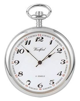 Woodford Chrome Plated Arabic White Face Mechanical Pocket Watch 1023