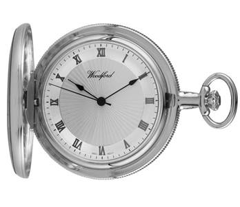 Woodford Mechanical Full-Hunter Pocket Watch, 1054, Men's Chrome-Finished Sun-Burst Dial with Chain