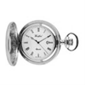 Woodford Chrome Plated Quartz Half Hunter Pocket Watch 1212
