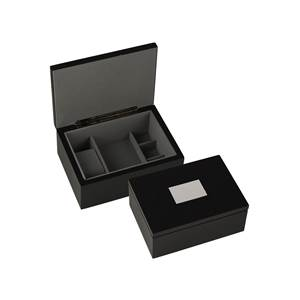 Dressing Table Box for Watches, Cufflinks or Jewellery in Black with Engraving Panel
