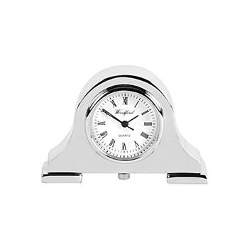 Miniature Napoleon Silver Plated Mantel Clock by Woodford -3,6 x 5,1 cm