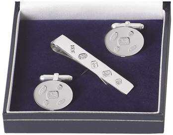 Sterling Silver Hallmark Cufflink and Tie Bar Set