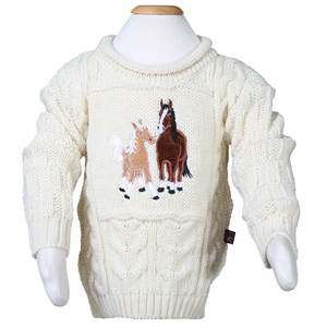 Mare and Foal Embroidered Aran Sweater for Children