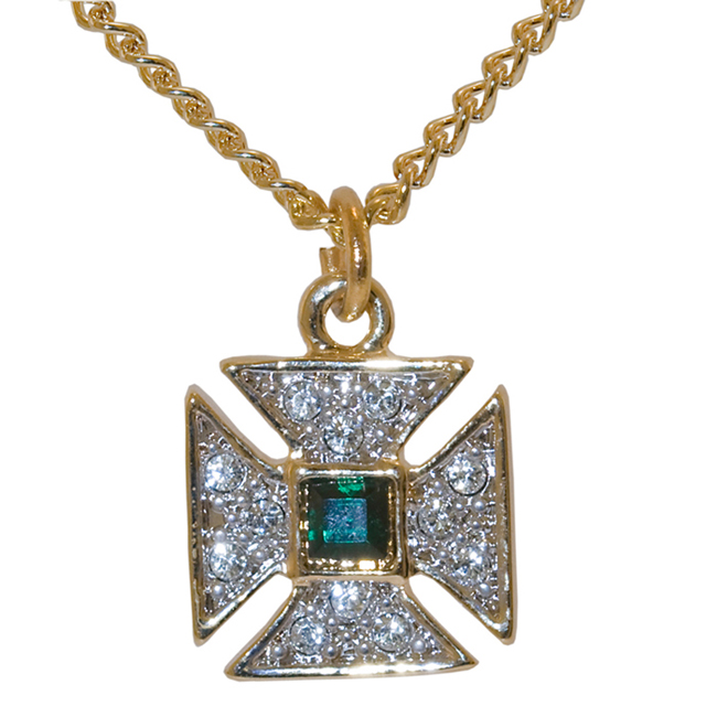 Top cross from the Sovereign's Sceptre  PENDANT- small lobster claw emerald crystal / white crystal 18k gold 0.15mc (stopped-off) plated.