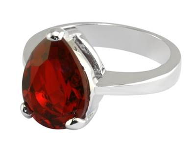 Queen Victoria's Ruby Crystal Collet Drop Ring - Reproduction in Swarovski Elements