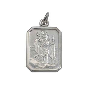 Sterling Silver St Christophers Pendant - Rectangular with Plain Border