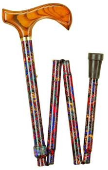 Wood Handle Folding Walking Stick with Patterned Shafts - Red Paisley -99RP