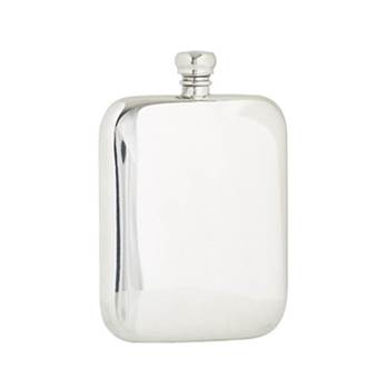 Hip Flask - 6oz rectangular plain  design with rounded shoulders and base