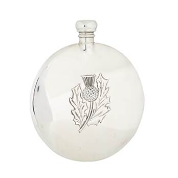 Round Pewter Flask 8oz with Thistle Sporran Design - by Sgian Dubhs
