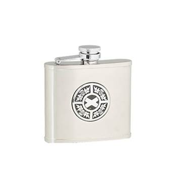 "Hip Flask - Stainless Steel with ""Captive Top"" in Thistle / Saltire Pattern"