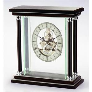 Skeleton Mantel Clock with Onyx and Cherrywood Colour Piano Finish SKC09