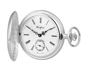 Pocket Watch Solid Sterling Silver Woodford Swiss Mechanical Full-Hunter, SH Dial - with Chain 1064