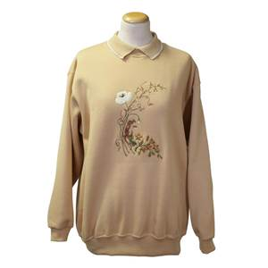 Ladies Embroidered Field Mouse Sweatshirt - Honey - Large