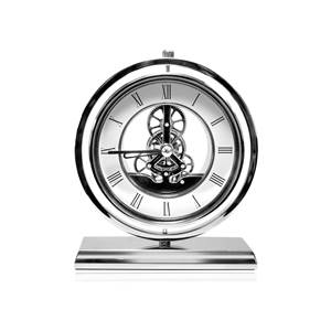 Veritas Chrome Plated Mechanical Skeleton Clock