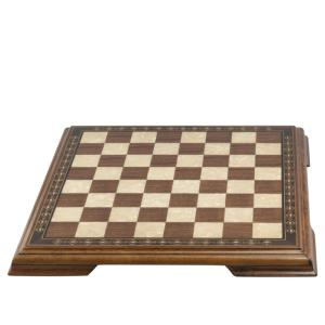 Chess Board with marquetry and legs 50cm Walnut & Eco Mother of Pearl