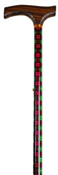 Patterned Adjustable Walking Stick - 28.5to 37.5inches - Green/Red Tartan