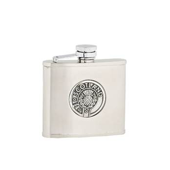 "Hip Flask - Stainless Steel with ""Captive Top"" in Scotland Pattern"