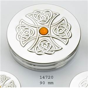 Round Pewter Trinket Box - 90mm with Topaz in Embossed Celtic Cross - EBP-14720 by Edwin Blyde.