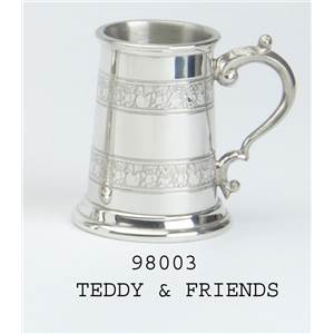 Pewter Child's Classic Can with Teddy & Friends Design - EBP-98003 by Edwin Blyde.