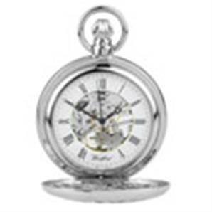 Woodford Chrome Plated 17 Jewel Mechanical Full Hunter Skeleton Face Pocket Watch 1052