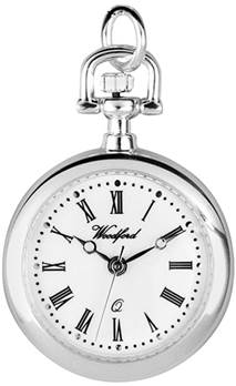 Woodford Ladies' Quartz Pendant Watch, 1204, Chrome-Finished with 28 Inch Chain