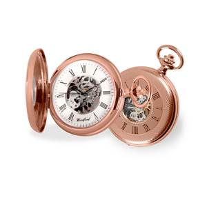 Woodford Rose Gold Plated Mechanical Half Hunter Skeleton Pocket Watch 1092