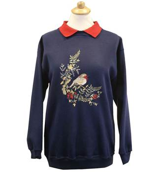 Ladies Embroidered Robin Sweatshirt - Navy