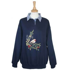 Ladies Embroidered Gingham Robin Sweatshirt with Collar - Navy Large