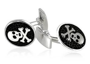 Pirate - Black Sterling Silver & Crystal Cufflinks