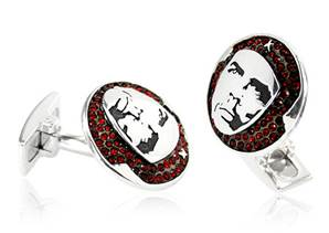 Che Guevara - Red Sterling Silver & Crystal Cufflinks