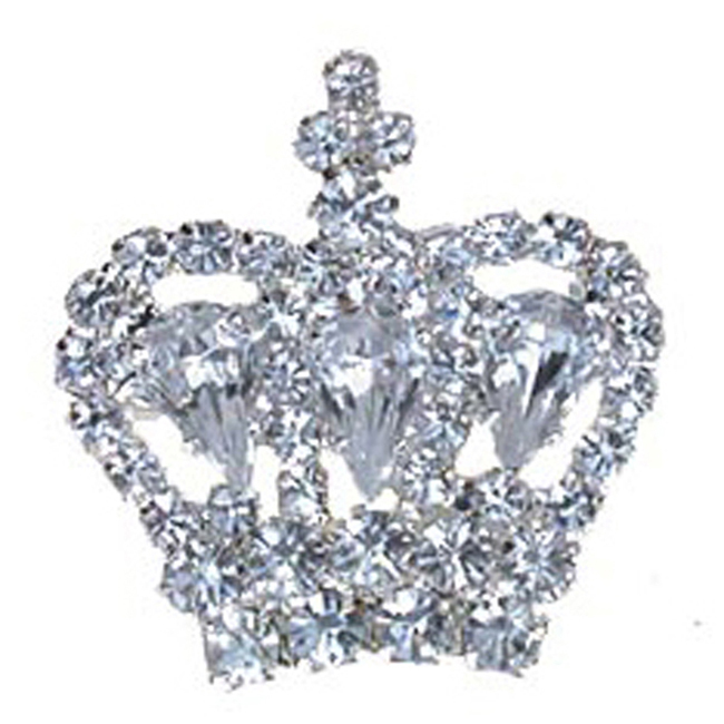 Diamond crown silver toned brooch