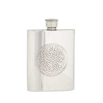 Pewter Hip Flask - 4oz Rectangular with embossed Celtic Knot design - by Sgian Dubhs