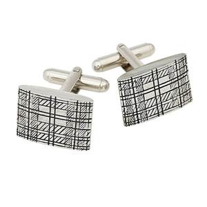 Tartan Rectangular Cufflinks in Pewter with a swivel fitting