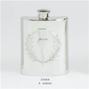 Pewter Hip Flask 6oz Thistle Design - EBP-30466 by Edwin Blyde.