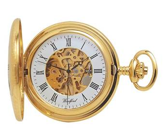 Woodford Gold Plated Mechanical Half Hunter Pocket Watch
